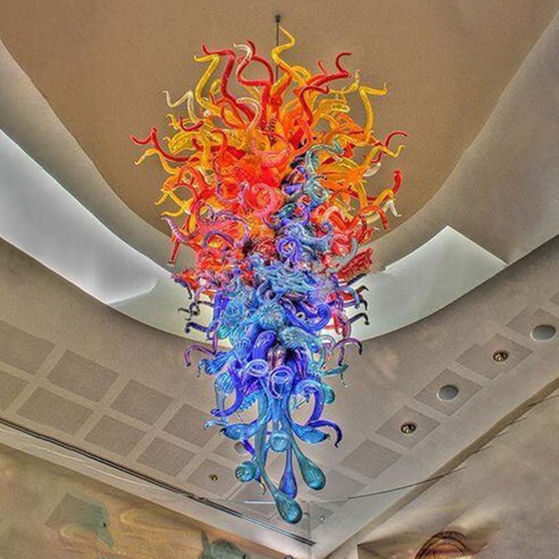 Lámparas Modern Boot Boca Blown Glass Chandeliers Luces Multi Color 24 por 52 pulgadas LED Colgante Colgante Iluminación para el hotel Decoración de la casa Sala de estar