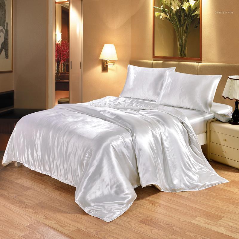 Conjuntos de roupa de cama 100% puro set de seda de cetim rainha king size tamanho cama edredom roupa de cama de edredão e fronha para uma única cama de casal1