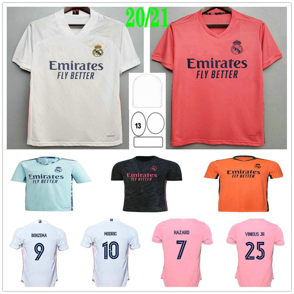 2020 20220 2021 ريال مدريد لكرة القدم الفانيلة المخاطر تعديل Jovic Rodrygo Vinicius JR Benzema Sergio Ramos مخصص 20 21 رجل امرأة أطفال كرة القدم قميص