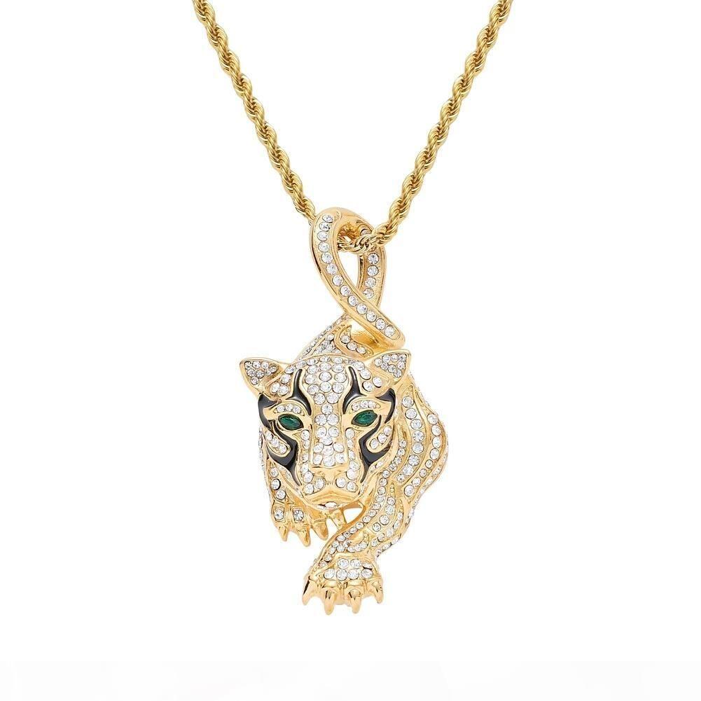 хип-хоп Leopard алмазов кулон ожерелья для хрустальных подвесок мужчины роскошь животных вестерн горячей продажи золота стали горный хрусталь из нержавеющей ожерелье