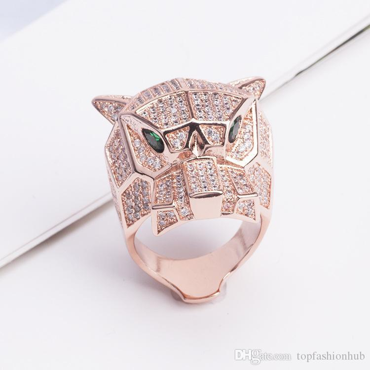 Tiger Leopard Head Ring CZ Jewelry Lovers Cute Rings Exquisite Copper Plated Hollow Green Eyed