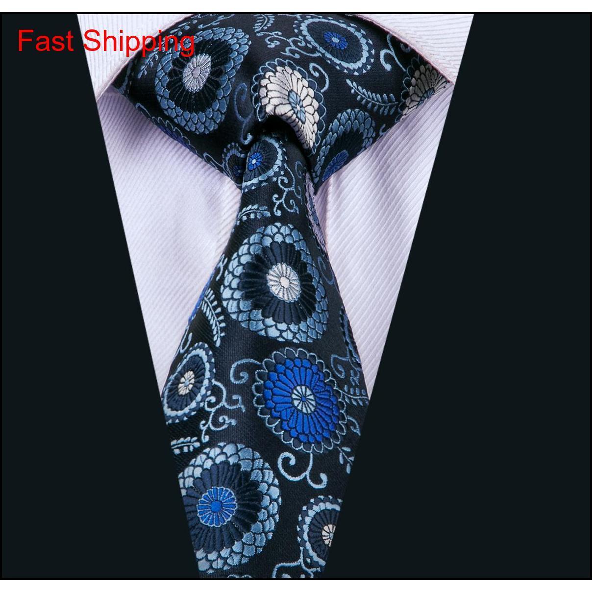 Blue Men Ties Classic Seta Set di cravatta in seta floreale cravatte cravatta cravatta cravatta hanky gemelli jacquard tessuto riunione business we qyngb homes2007