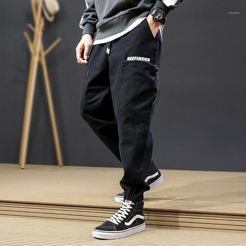 Мужские джинсы осень LY мода мужчины свободные подходят большие карманные повседневные грузовые брюки Homme Joggers Harem Truseers Streetwear Hip Hop Men1