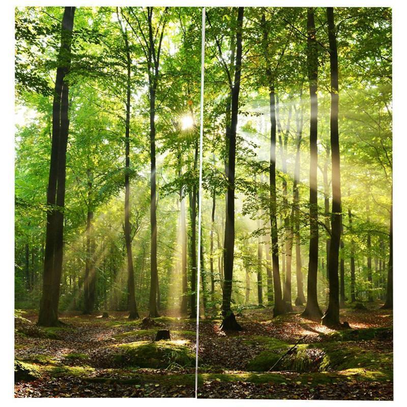 Forêt de bambou Rideaux d'électricité imprimée pour les rideaux de fenêtre de la chambre pour salon 85% ombrage 3D hauteur 200cm largeur 170cm1