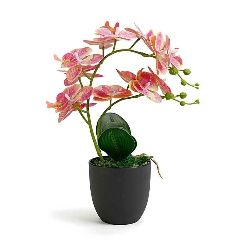 Декоративные цветы венки орхидеи искусственные с горшком для домашнего сада украшения реальные подделки фальшивые латексные орхидеи бонсай Флорес искусственные