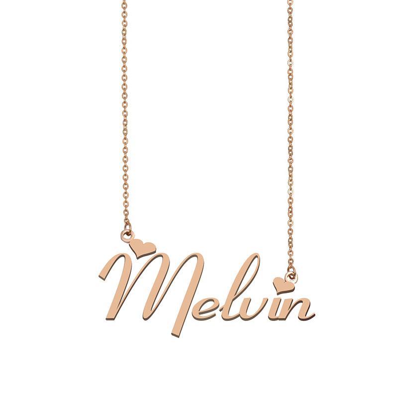 Melvin Name Halskette benutzerdefinierte Typenschild Anhänger für Frauen Mädchen Geburtstagsgeschenk Kinder Beste Freunde Schmuck 18 Karat vergoldet Edelstahl