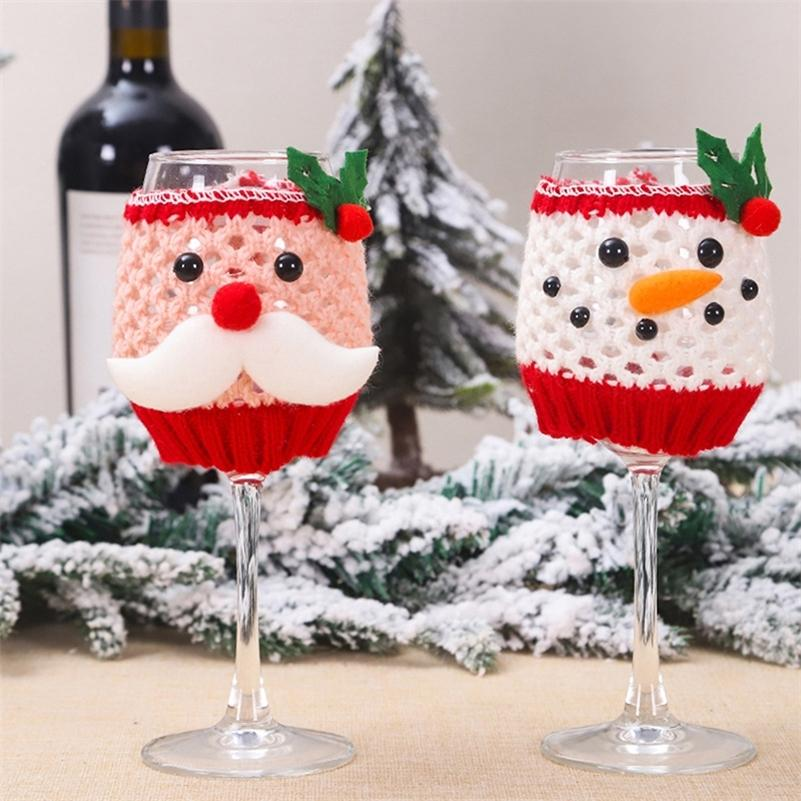 1set Christmas Wine Glass Cover Set Wool Santa Claus Snowman Wine Bottle Cover Christmas Table Decorations For Home Dinner Party Y201020