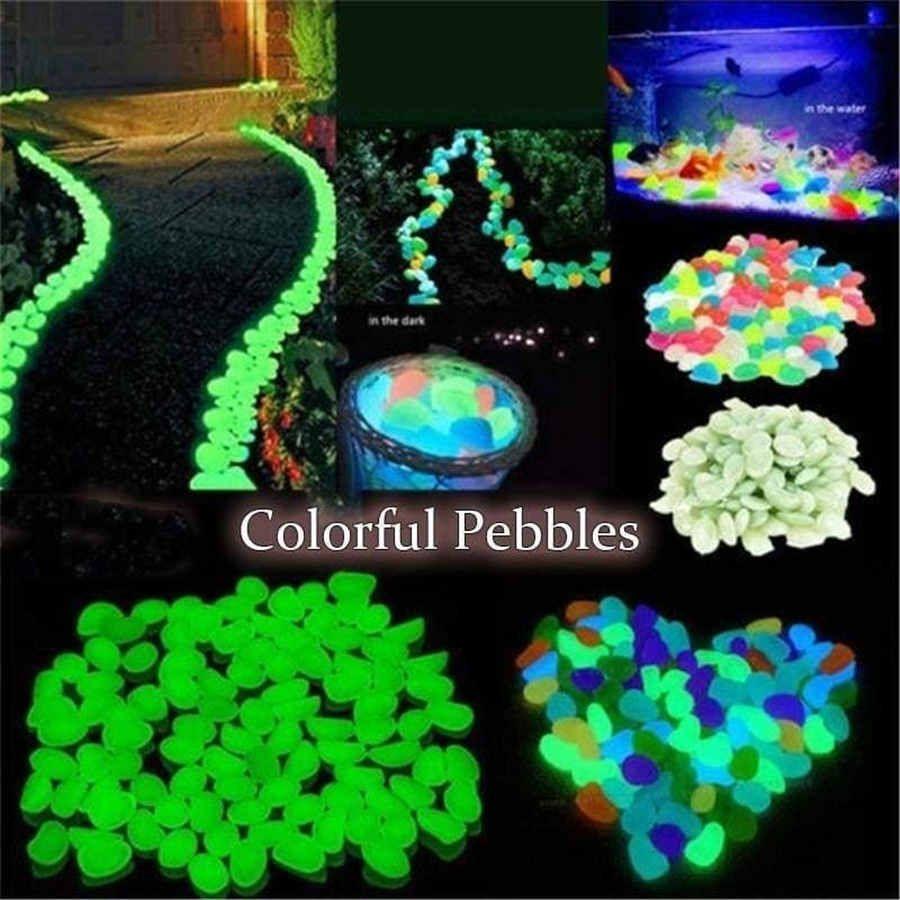 Rocas de la decoración del jardín luminosas piedras brillan en la oscuridad decorativo de piedras de pescado al aire libre del tanque del acuario Decoración Pebble color de la mezcla