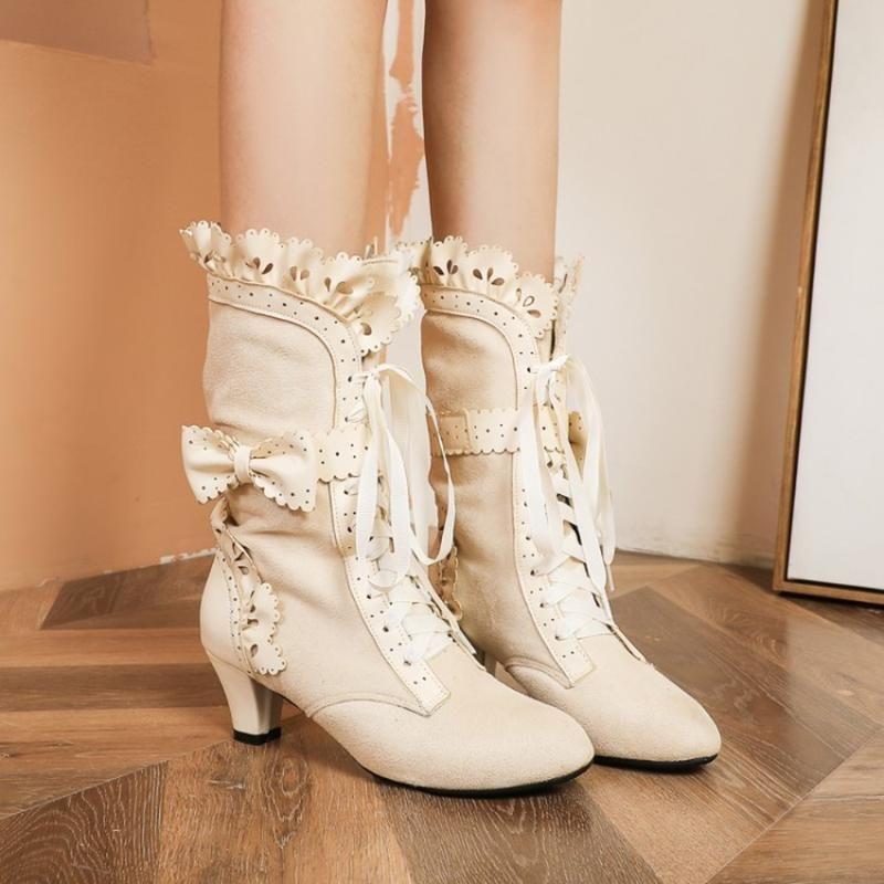 New Women Winter Block Heels Ankle Boots Lolita Sweet Bowknot Girl Shoes Plus sz