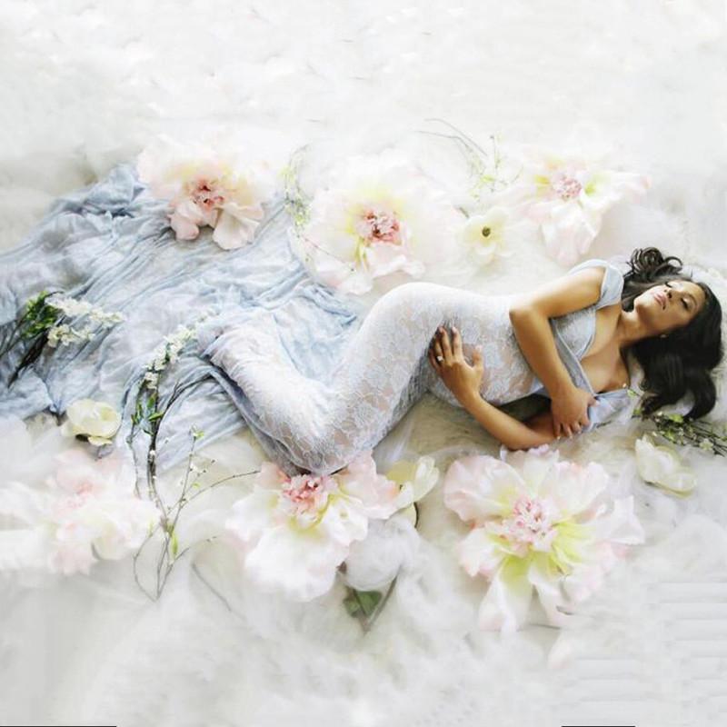 Maternidad vestido de encaje ropa embarazadas fotografía apoya la perspectiva atractiva de la sesión fotográfica que arrastra el vestido Mujeres Vestidos madre