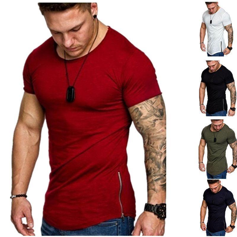 Fashion Soild Color Mens T Shirt Casual Crew Neck Slim Short Sleeve Designer Summer Mens Clothing