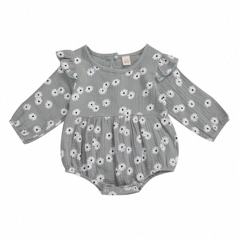 0-18M Newborn Baby Daisy Romper Cotton Linen Clothes Ruffle Long Sleeve Jumpsuit Playsuit Soft Infant Summer Clothes hAfo#