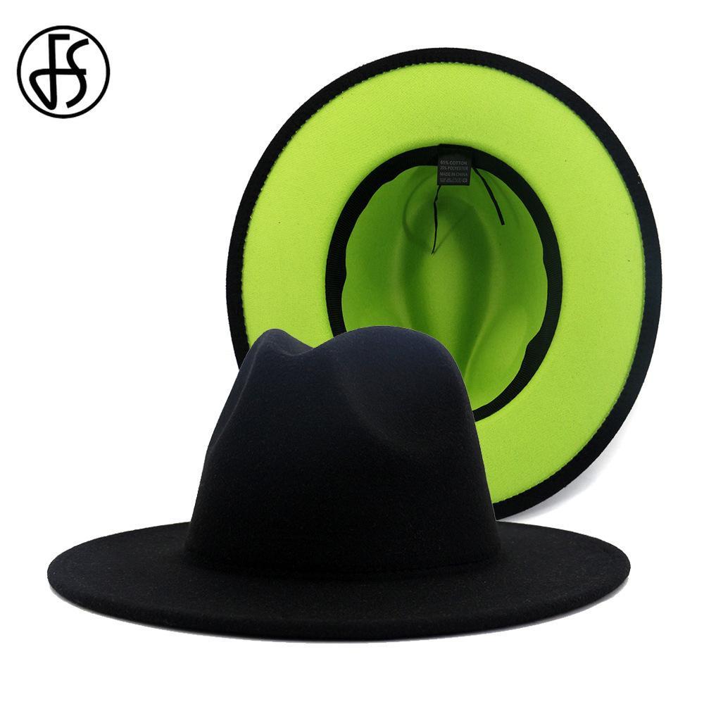 FS 60 CM Kapelusz Czarny Zielony Patchwork Fedory Kapelusze Mężczyźni Kobiety Szeroki Brim Panama Cowboy Trilby Cap Party Elegancka Wełna Fild Jazz Hat 201028