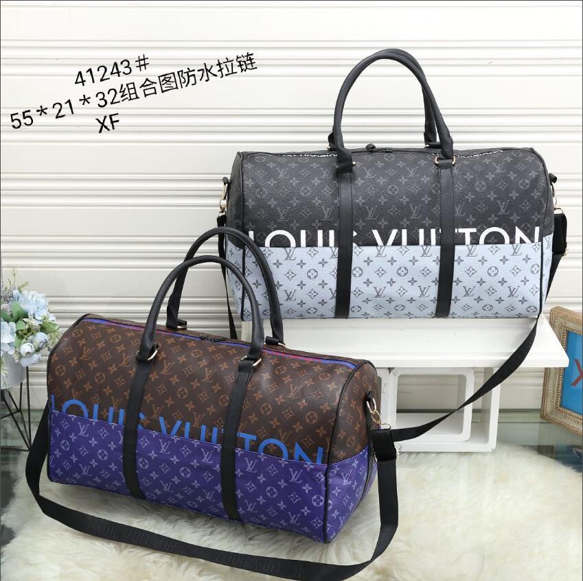new men duffle bag women travel bags hand luggage travel bag men pu leather handbags large cross body bag totes 55cm XF41243