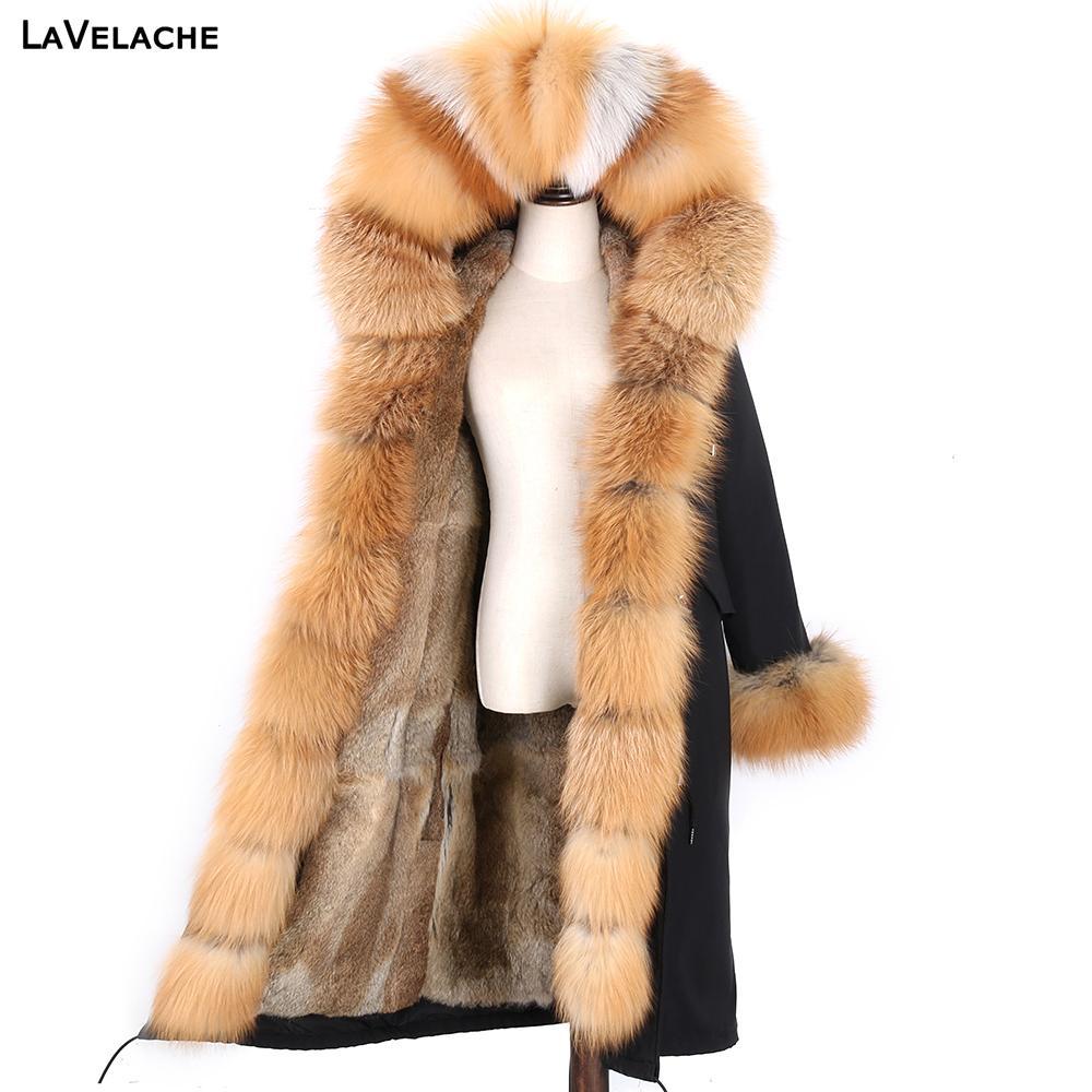 Nuova giacca invernale impermeabile reale cappotto di pelliccia donne x-long parka 7xl real rabbit pelliccia fodera naturale raccoon collare di pelliccia con cappuccio 201126