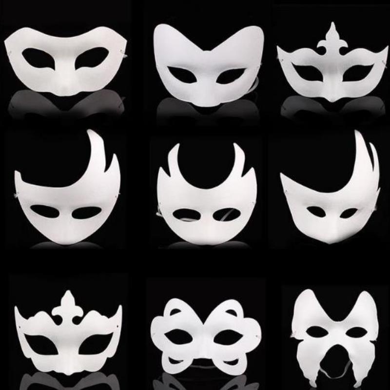 Blank Full Kostüm Maske Kinder Tier Weiße Halloween Weihnachten Masquerade Mitternacht Halb DIY Masken Mardi Gesicht Gras Erwachsene Cartoon Mask BGBFX
