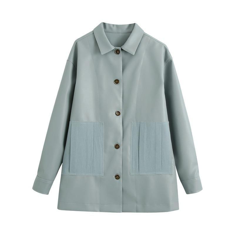 Casacos femininos outono PU couro para roupas roupas soltas de costura magro casaco vintage jaqueta inverno