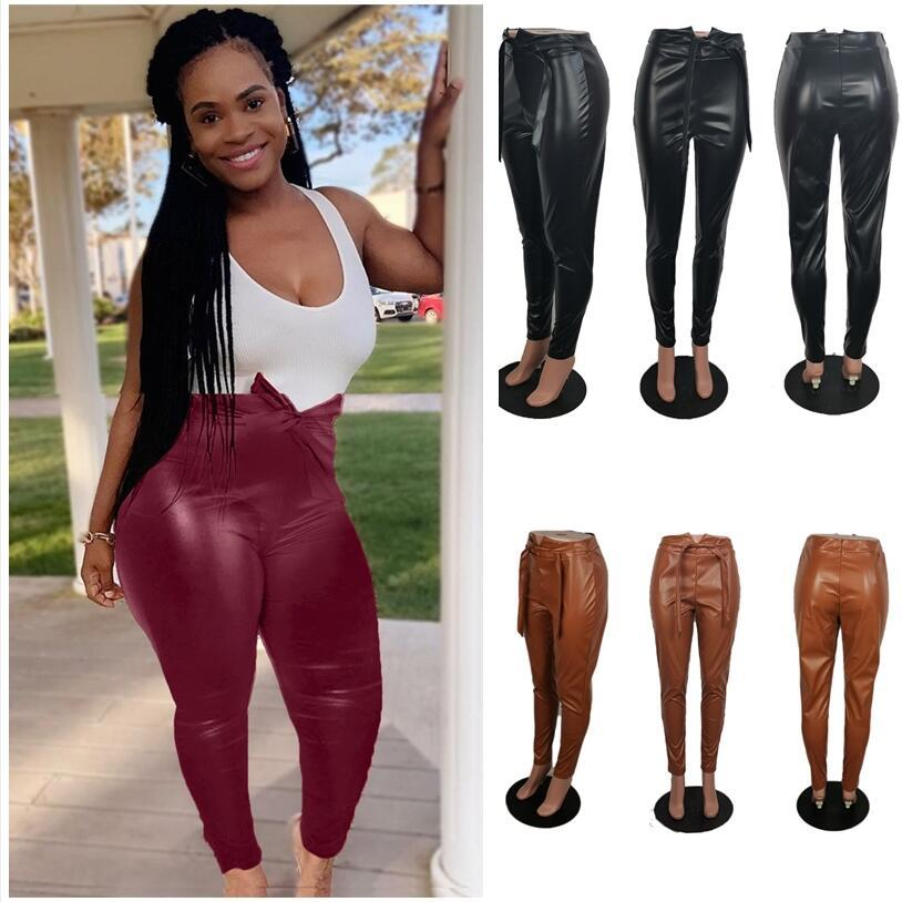 Plus Size Womens PU Leather Pants High Waist Tights Leggings Front Belt Bow Back Zipper Tight Pencil Pants Fashion Party Casual BottomF92904