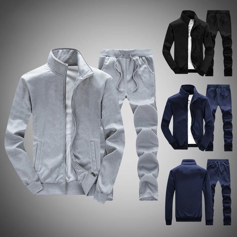Chándal sólido 2020 Hombres Conjuntos Sudadera 2 piezas Primavera Summer Smen's Sportswear Set Chaqueta + Pantalones Masculino Casual Cremallera Traje