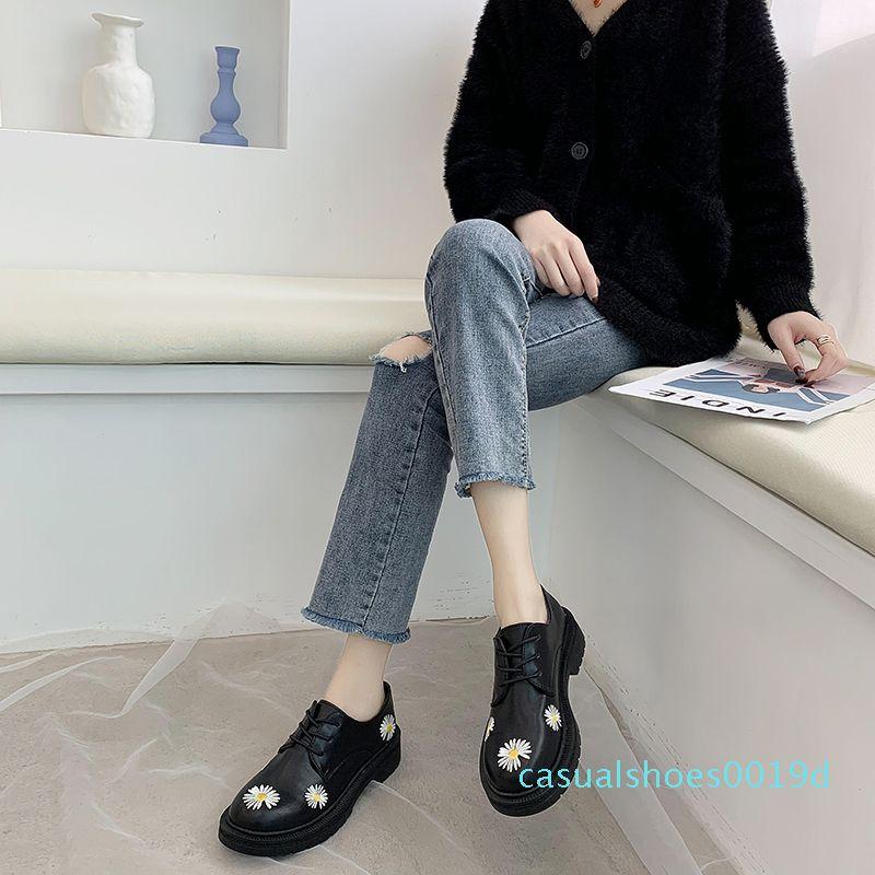 tSpring Sonbahar Kız Ayakkabı Rugan Kadın Ayakkabı Platformu Kadın Flats Yuvarlak Burun bayanlar Siyah zapatos mujer U29-45 19c
