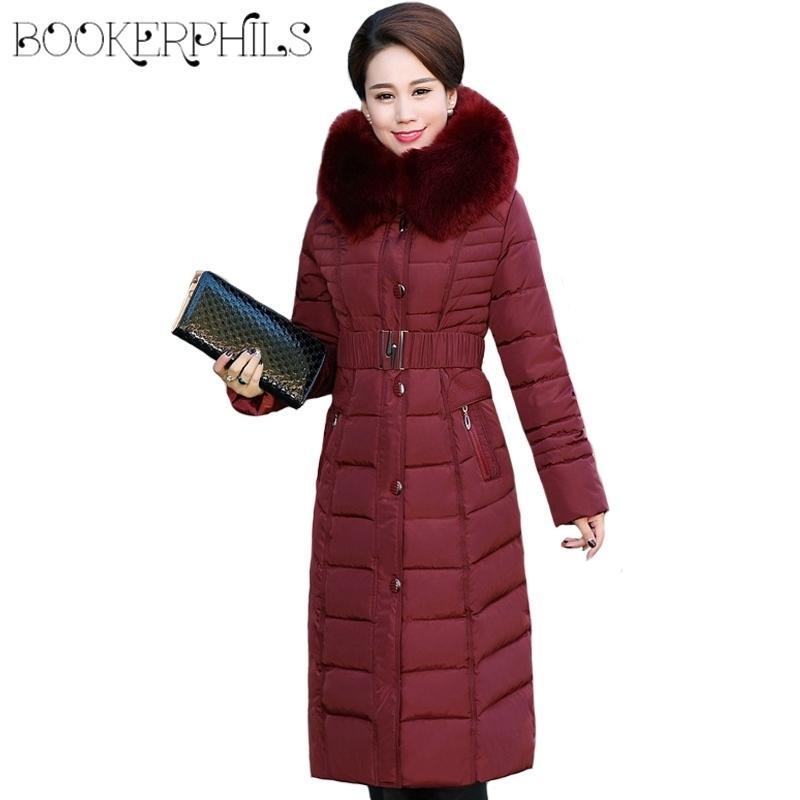 Veste d'hiver Femmes X-Long X-Long Plus taille Collier épais manteau d'hiver Femmes longs Parkas Parkas Coton à capuche Vêtements de vêtement L-5XL 201029