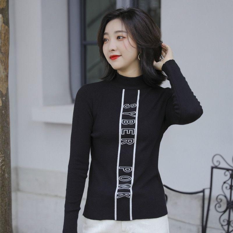 vjwwa brilhante do outono 2020 de perfuração quente fino manga longa inverno de seda Zaf1n das mulheres fashion meio de altura Tcollar T-shirt das mulheres camisa assentamento novo Z