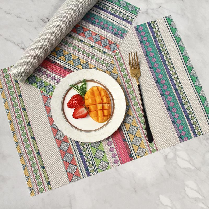 Küche zu Hause Waschbar PVC pirnt Platzdeckchen wasserdicht oilproof Mattenauflage nach Hause Esstisch Küchentisch Mats Tropfenschiff
