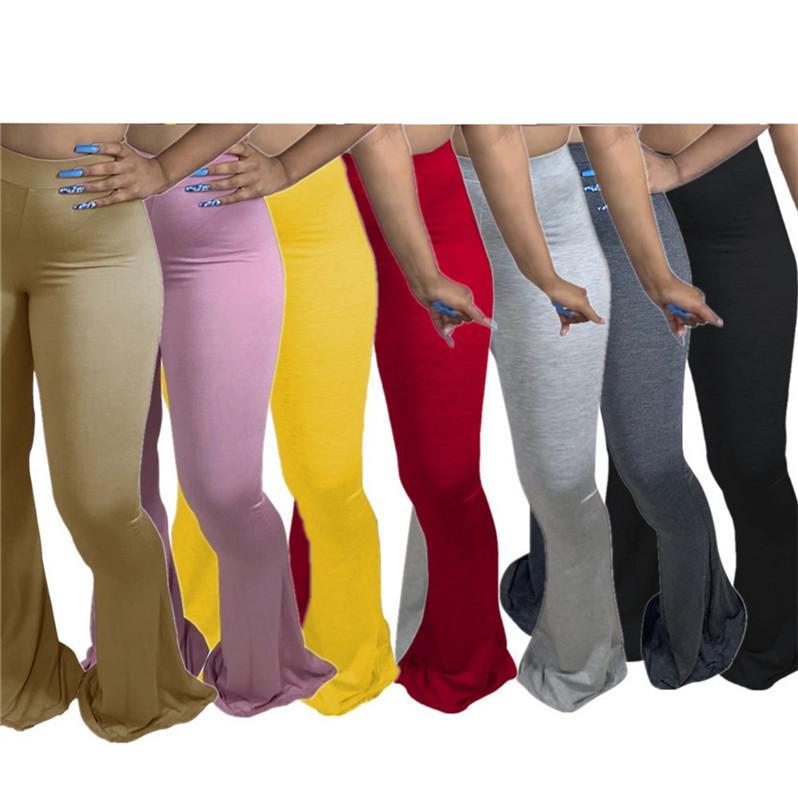 2020 Taille Plus Femmes Pantalons Flare L-4XL Outfit Bas Style Hot moulants Casual Big évasés Pantalons Pantalons Leggings bootcut L-4XL F92913