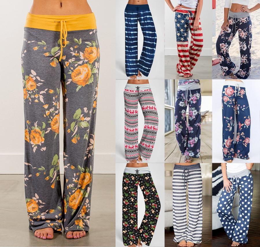 Damen-elastische Taillen-Hosen 40 Styles Camouflage Printed Wide Leg Homewear Pants Women Casual Wear lange Hose Sea Shipping DDA760