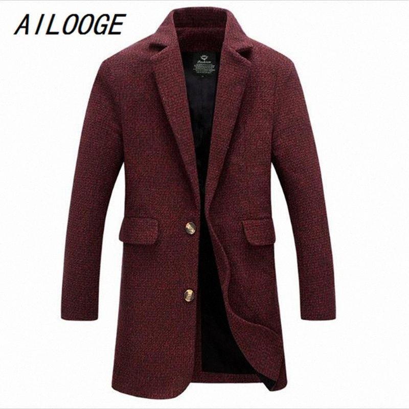 Brasão Men Windbreak Inverno Red AILOOGE Longo Trench Sólidos Warm Grey Fashion Style grosso casaco de M-5XL Longo Trench Masculino Jackets e6HK #