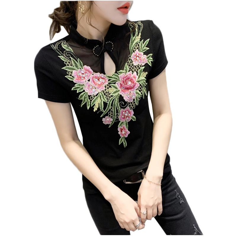 2021 Nouveauté Été Femmes T-shirts Casual Folk-Custom Fleurs Tops brodés T-shirts Slim manches courtes Sexy T-shirt Feminine Y291 J8G5