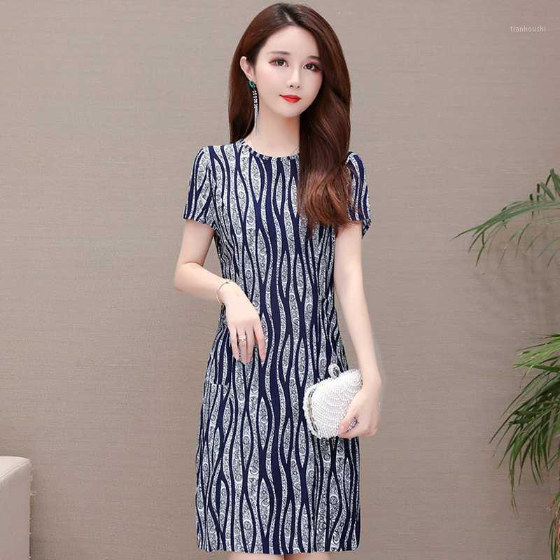 Dress Vintage Dress Estate 2020 Slim Print Casual Casual Plus Size Dress Abito elegante Abiti manica corta Vestiti estivi per le donne1