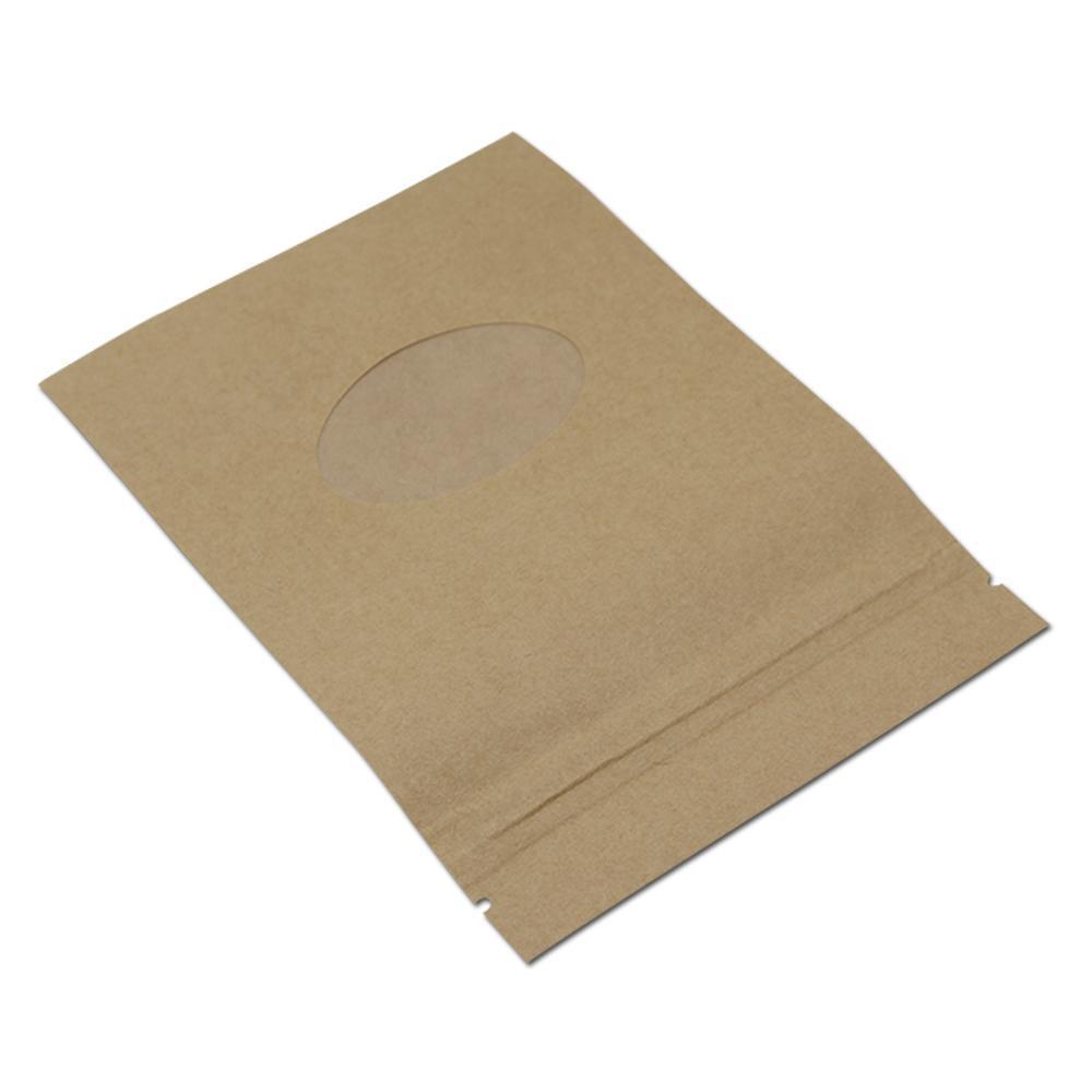 200 adet Lot Kraft Kağıt Zip Kilidi Gıda Paketi Çanta Stand Up Kılıfı Oval Temizle Pencere Kahve Çay Fındık Ile Somunlar Aperatifler Paketi H SQCSEG