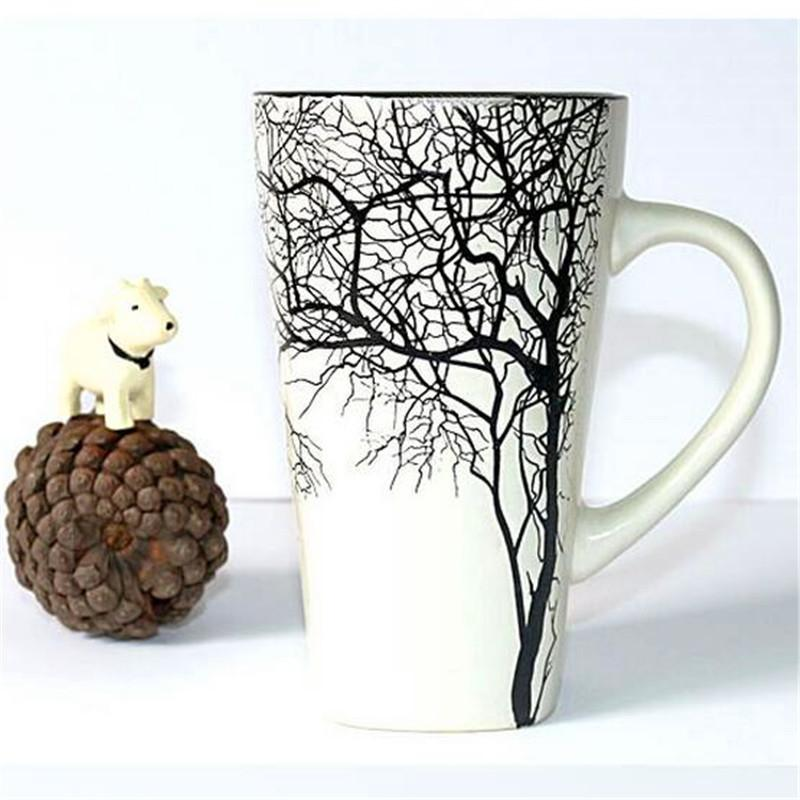 1Pcs Fashion 450ml The Castle Style Creative Ceramic Art Mug Cup Hand-painted embossment impression tree cup milk tea cup T200506