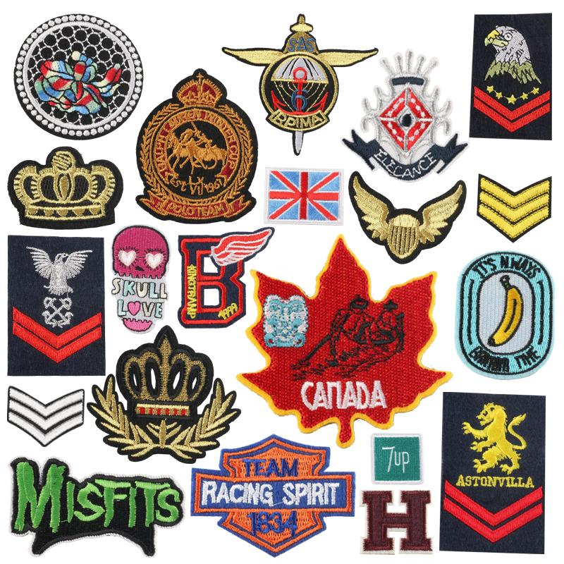 Personalizado Custom Crown Badge Styling Pasch Paste Alto Ropa Accesorios Bordado Paño Pegatinas Plancha en parches