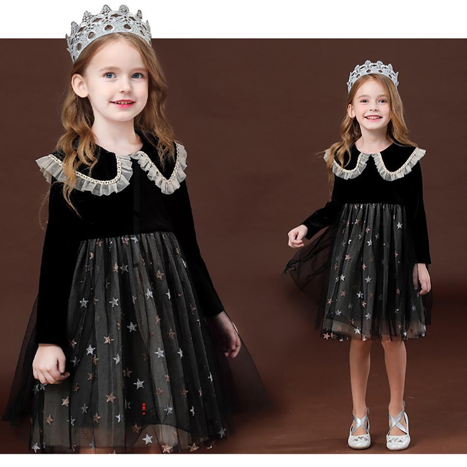 Kızlar Elbise Noel Prenses Kostüm Uzun Kollu Sonbahar Elbise Kızlar Için Frocks Elbise Mezuniyet Kıyafeti Çocuklar Çocuk Casual Giyim W1227