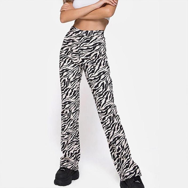 Damenhose Capris Harajuku Vintage 90er Jahre Zebra Gedruckte Frauen 2021 Herbst Streetwear Hohe Taille Lange Gerade Hose Slim Casual