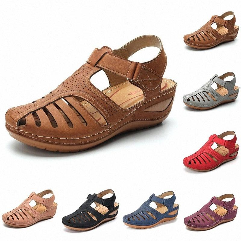 Damen Sandalen Sommer-Dame-Mädchen Bequeme Knöchel hohle runde Toe Sandalen weiblich Weiche Strand Sole-Schuhe plus Siz f3ae #