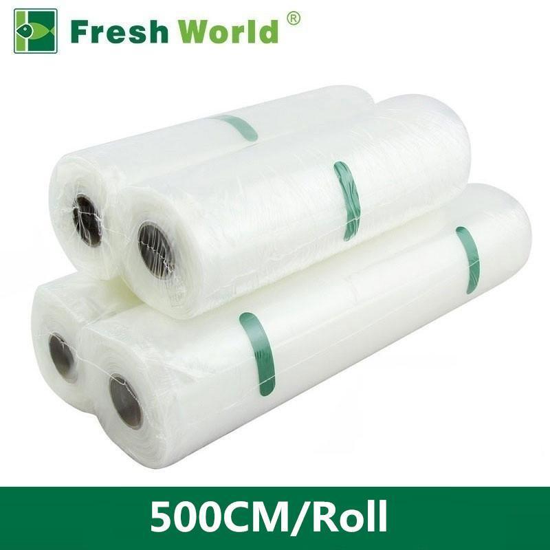 Свежее мира Вакуумные пакеты для вакуумной Sealer сумки Свежее длительного хранения 12 15 20 25 28 30 35 * 500cm Кухня Упаковка Рулоны