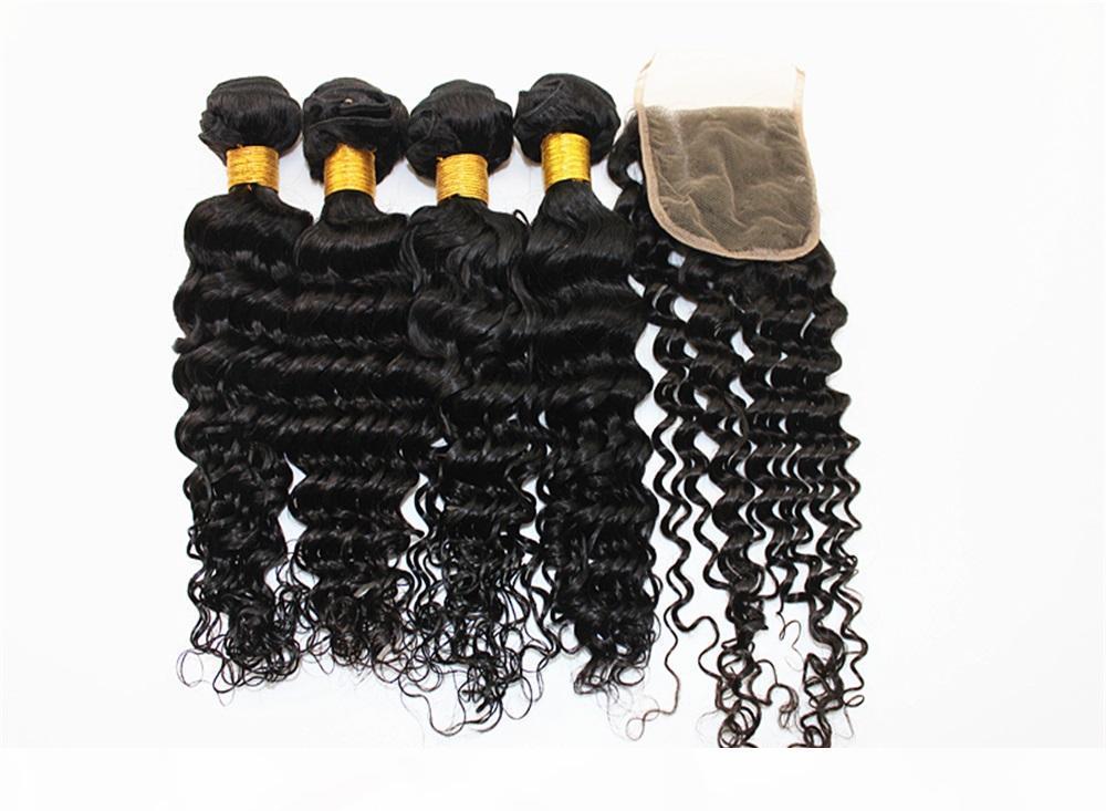 Extensiones de cabello de onda profunda 3 paquetes con 4x4 Cierre de cabello Cierre libre Pieza india peruana Sin procesar Hermano humano 8-28 pulgadas