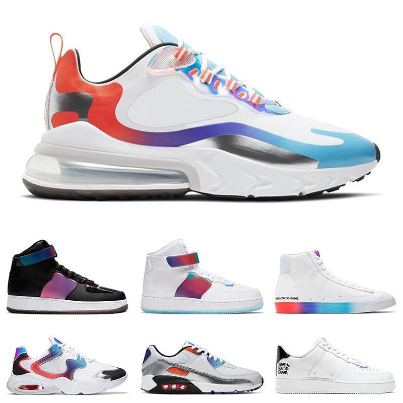Miłej gry Pack Mężczyźni Kobiety Buty do biegania Trenerzy 270 Reaguj Rainbow 90 Blazer Mid 77 Vintage Męskie Sporty Outdoor Sneakers