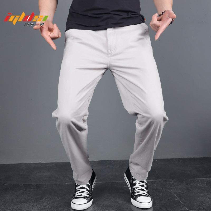 Мужские брюки пружины кнопка повседневная сплошное цветное досуг Chinos длинные брюки осенью мужская уличная одежда бизнес прямо