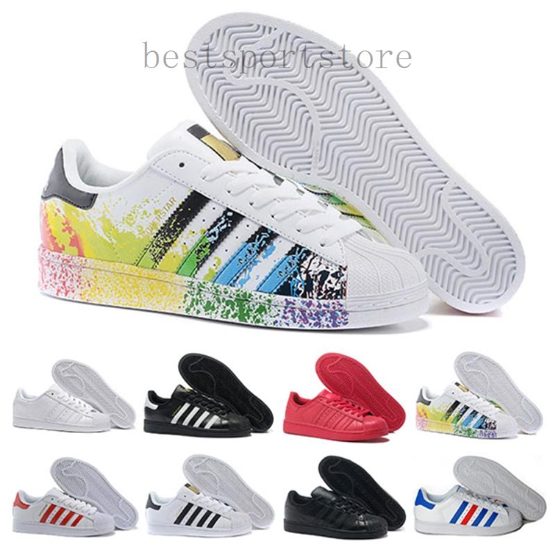 Adidas super star starsuper Envío gratuito Superstar Blanco Negro Rosa Superstars Oro azul 80 orgullo zapatillas Super Star de las mujeres de los hombres del deporte de los zapa