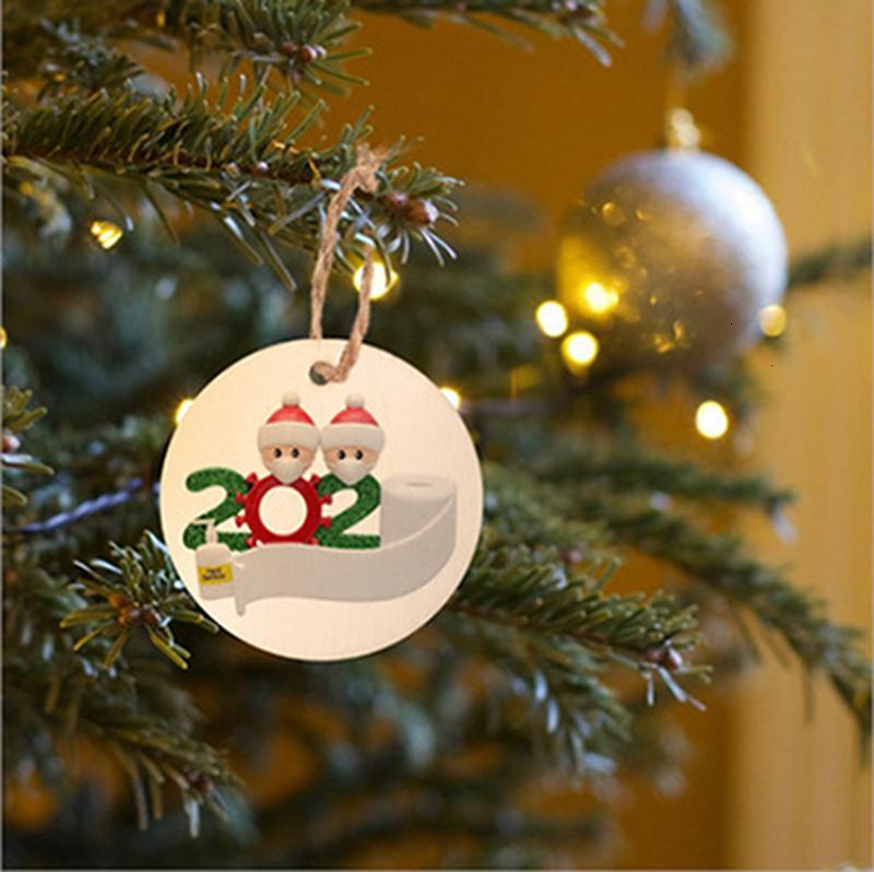 2020 Árvore de Natal Quarentena de Natal enfeites de decoração pendurado pingente família de 2 3 4 5 Papai Noel Com Máscara transporte marítimo IIA629YF