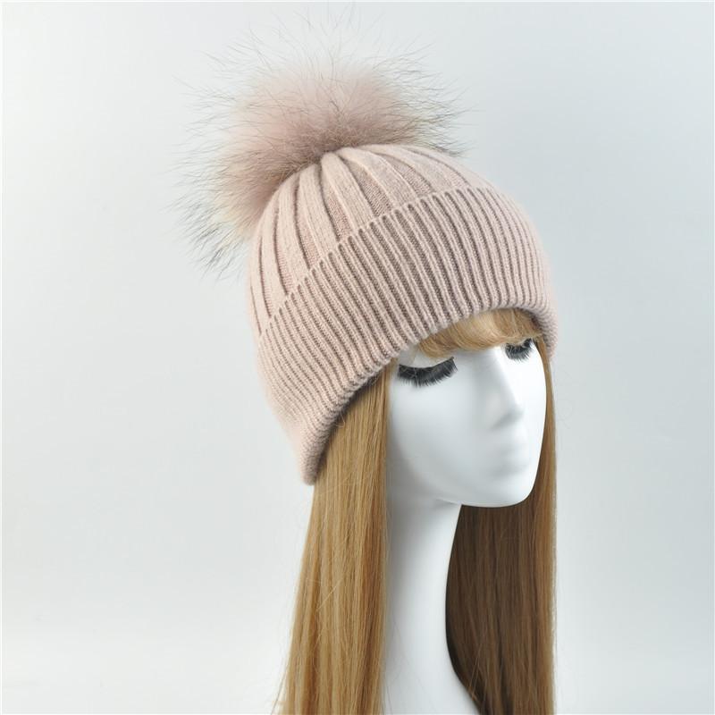 2020 Winter Fur Real Шапочки Женский Лоскутная Теплый вязаные шапки Природные шерсти енота шерсти Hat Мода Женщины помпон Cap Hat