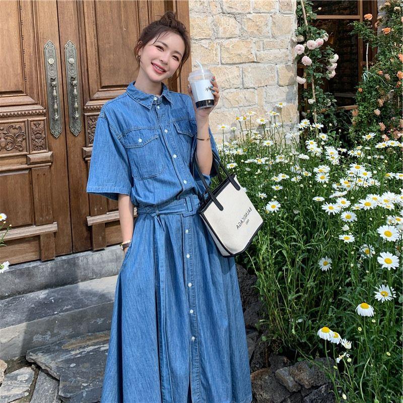 verão denim 2020 Curto denim vestido das mulheres saia novo estilo francês cintura emagrecimento temperamento longa deusa saia fMZsC fina
