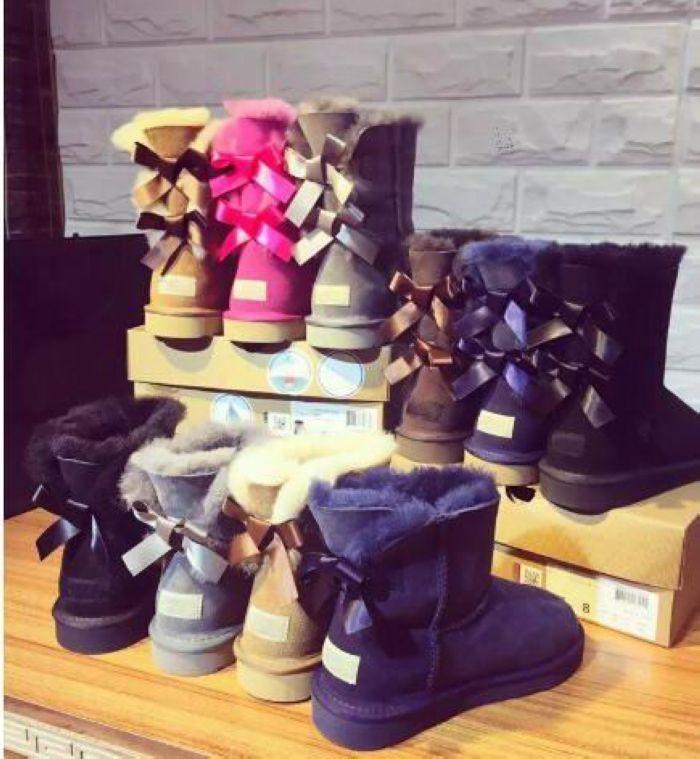 Дизайнерские дети взрослые EU25-43 Большой размер низкой цене новые ботинки снега толстый кожаный лук в трубу снега сапоги хлопка обувь РОЖДЕСТВО ПОДАРОК