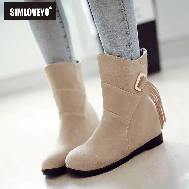Simloveyo Knöchelstiefel für Frauen Runde Zehhöhe Erhöhung Wildleder Leder Slip auf Schnalle Quaste Schwarz Rot Studenten Schuhe Botas