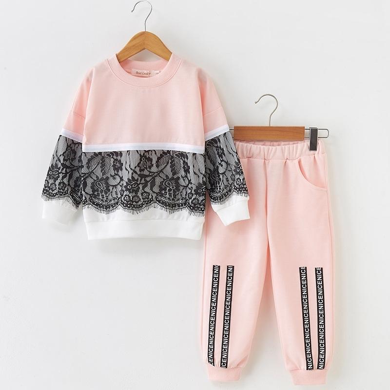 Bärleiter Mädchen Kleidung Sets Neue Herbst aktiv Mädchen Kleidung L Kinder Kleidung Cartoon Print Sweatshirts + Hosen Anzug 3-7Y T200414