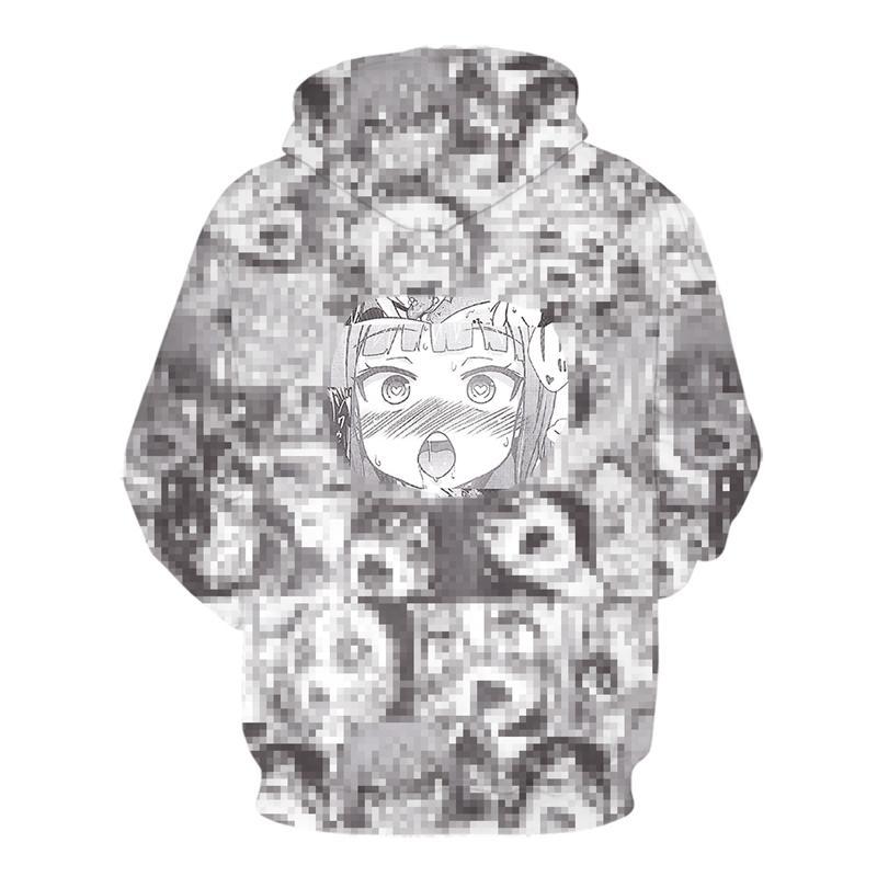 3D аниме толстовки женщин мужчины смешные капюшоны застенчивы девушки лицо толстовка хентай манга уличная одежда Harajuku негабаритные куртки Tops Y200519